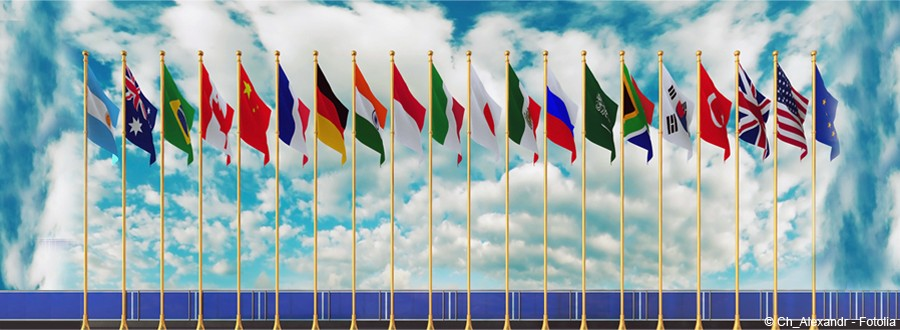 Composition avec drapeaux du G20