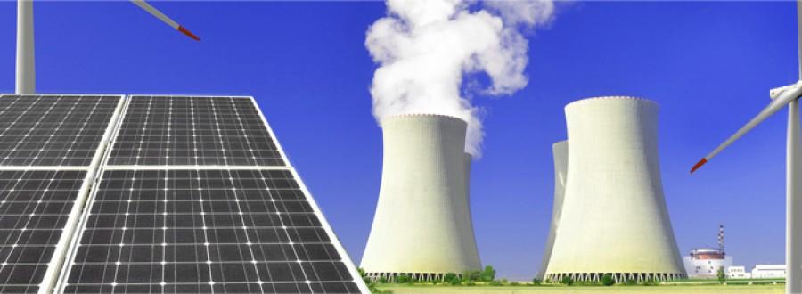 Énergie solaire, éolienne et centrale nucléaire