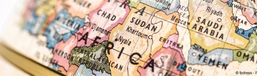 Map monde avec zoom sur l'Afrique
