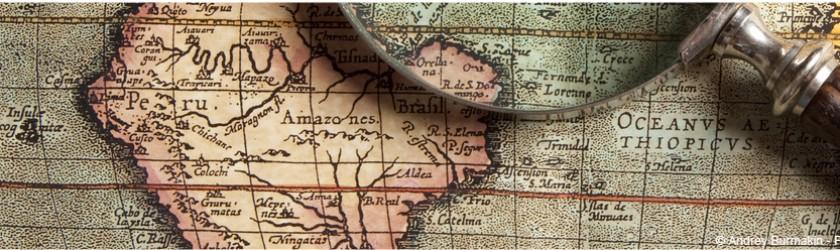 Map monde avec zoom sur l'Amérique Latint