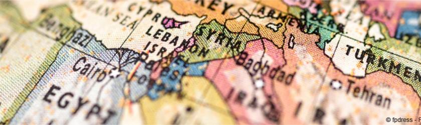 Map monde avec zoom sur le Moyen-Orien