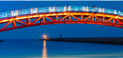 Vue nocture d'un pont à Miaoli, Taïwan