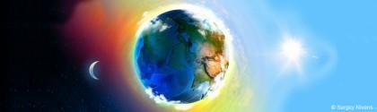 La Terre entre la lune et le soleil